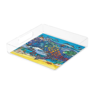 Square Acrylic Tray: Under the Sea Series Acrylic Tray