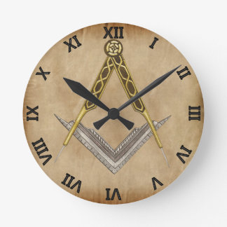 Square and Compass with All Seeing Eye Round Clock