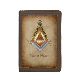 Square and Compass with All Seeing Eye Tri-fold Wallet