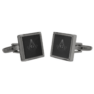 Square and Compass with inset G (Ombre) Gunmetal Finish Cufflinks