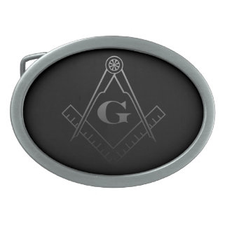 Square and Compass with inset G Oval Belt Buckles