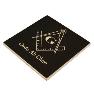 Square and Compass With Inset G Wood Coaster
