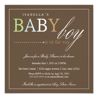 Square Baby Boy | Baby Shower Invite