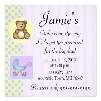 """Square baby shower invitation 5.25"""" square invitation card"""