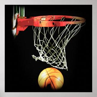 Square Basketball Ball & Net Poster