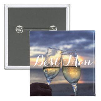 Square Best Man Sunset On Beach Wedding Buttons
