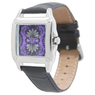 Square black leather watch w/purple fractal face
