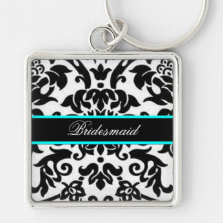 Square Black white & aqua damask bridesmaid Silver-Colored Square Key Ring