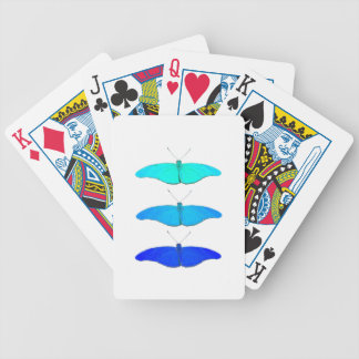 Square blue butterflies bicycle playing cards