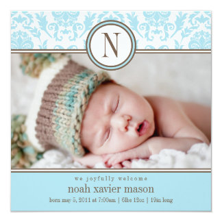 Square Blue Damask | Birth Announcement