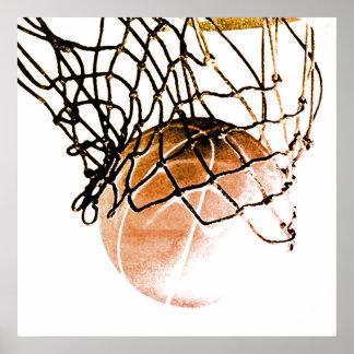 Square Brown Basketball Ball & Net Print Poster