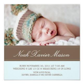 Square Brown & Blue | Birth Announcement
