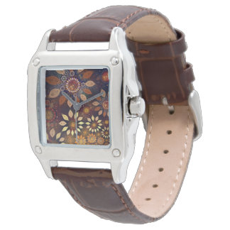 Square brown leather watch w/floral face