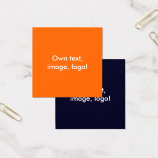 Square Business Cards Orange-Dark Blue