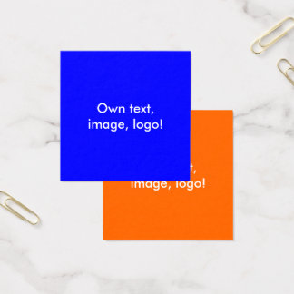 Square Business Cards Royal Blue-Orange