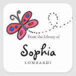 Square Butterfly Bookplates Square Stickers