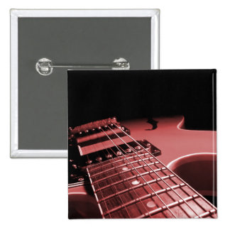 Square Button Electric Guitar Close Up - Red
