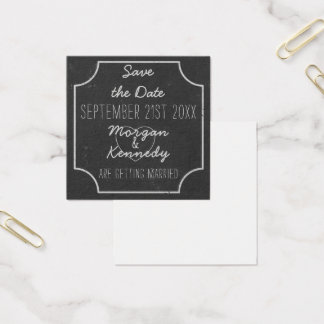 Square Chalkboard Wedding Save The Date Square Business Card