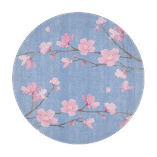 Square- Cherry Blossom - Serenity Blue Cutting Board