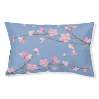 Square- Cherry Blossom - Serenity Blue Pet Bed