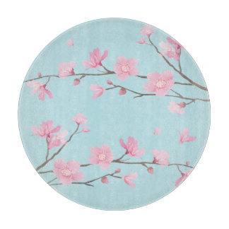 Square- Cherry Blossom - Sky Blue Cutting Board
