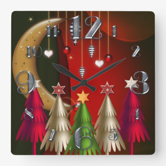 Square Christmas Trees and Baubles Clock