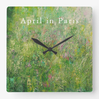 Square clock: April in Paris Clock