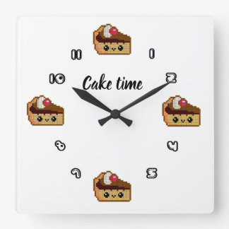 Square clock of wall CAKE TIME