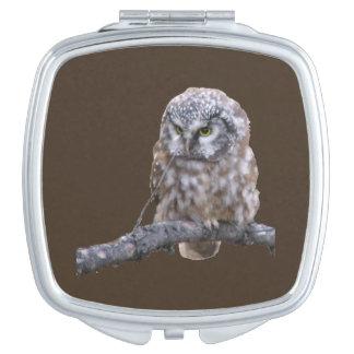 Square Compact Mirror w/ owl