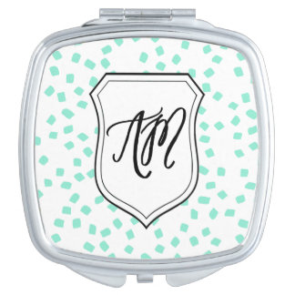 Square Compact With Monogram Initials Travel Mirrors