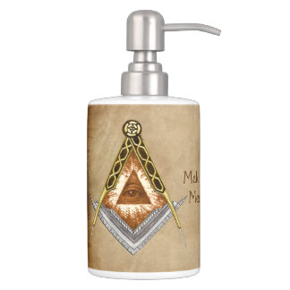 Square & Compass with All Seeing Eye Soap Dispenser And Toothbrush Holder