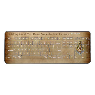 Square & Compass with All Seeing Eye Wireless Keyboard