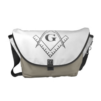 Square & Compass with Inset G - Ombre Courier Bags