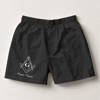 Square & Compass with Inset G - White Boxers