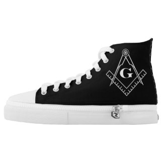 Square & Compass with Inset G - White High Tops