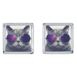 Square Cufflinks, Silver Plated Silver Finish Cuff Links
