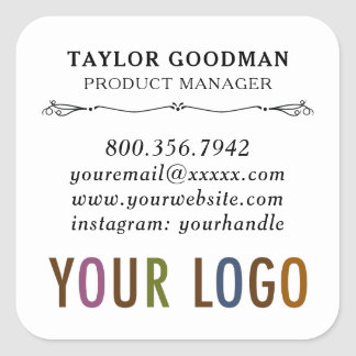 Square Custom Business Card Stickers Acid Free