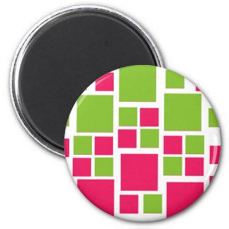 Square Design Art Lime Green / Hot Pink 6 Cm Round Magnet