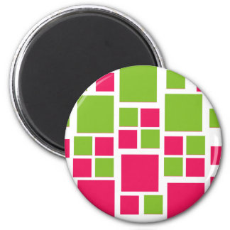 Square Design Art Lime Green / Hot Pink 6 Cm Round Magnet