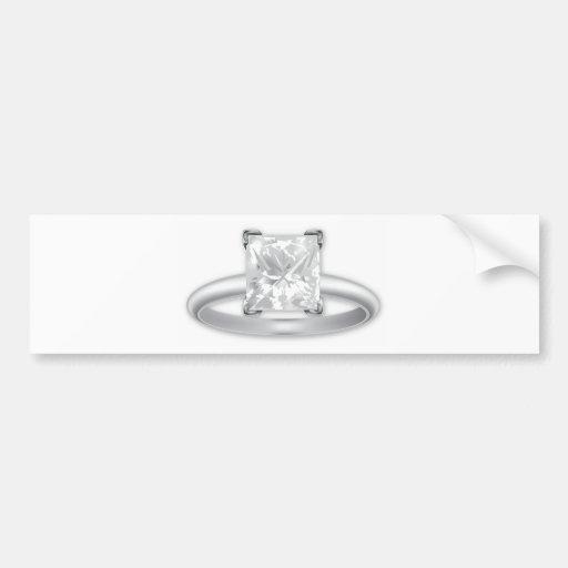 Square Diamond Ring Bumper Sticker