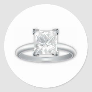 Square Diamond Ring Round Sticker