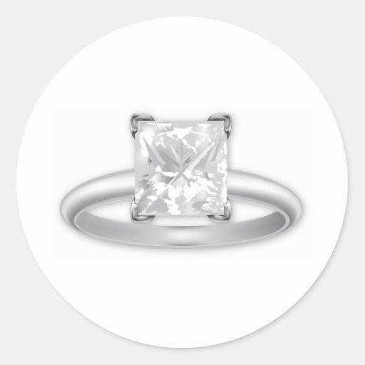 Square Diamond Ring Round Stickers