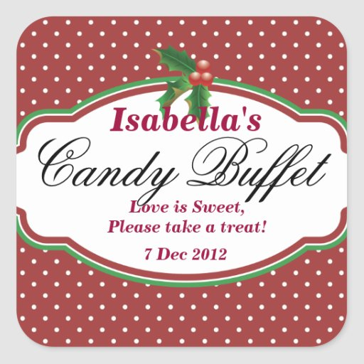 Square Dotty Christmas Candy Buffet Sticker