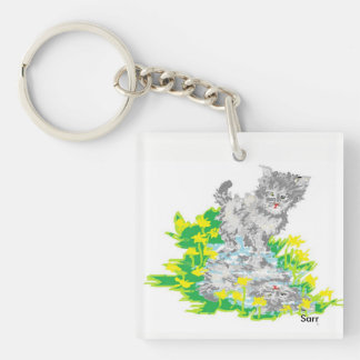 Square (double-sided) Keychain/Kitten Key Ring