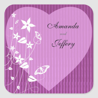 Square Envelope Seal | Pink Flower Butterfly Square Sticker