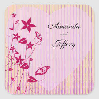 Square Envelope Seal  Pink & Red Flower Butterfly Square Sticker
