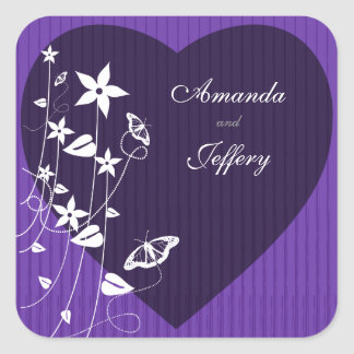 Square Envelope Seal | Purple Flower Butterfly Square Sticker