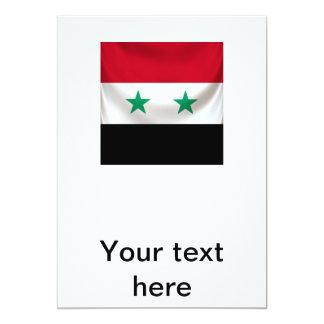 Square flag of Syria, ceremonial draped 13 Cm X 18 Cm Invitation Card