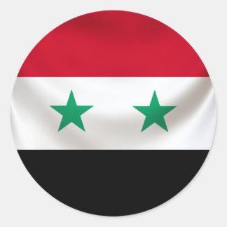 Square flag or Syria, ceremonial draped Round Sticker