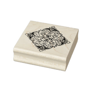 Square Floral Embellishment Rubber Art Stamp